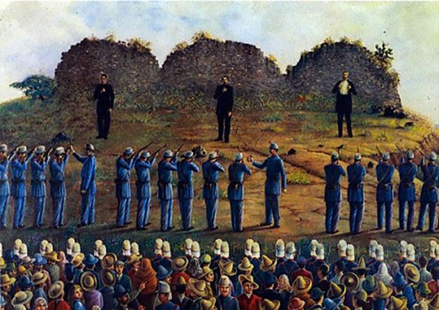 Fusilamiento de Maximiliano de Habsburgo, Miguel Miramón y Tomás Mejía, en el Cerro de las Campanas, ciudad de Queretaro